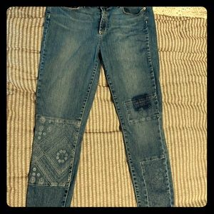 PAIGE size 31 Jeans with Patchwork Design